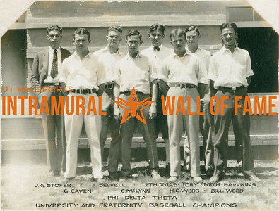 BASEBALL University & Fraternity Champions  Phi Delta Theta  R1: J. G. Stofer, F. Sewell, J. Thomas, Toby smith, Hawkins R2: G. Caven, C. McLynn,  H. C. Webb, Bill Weed