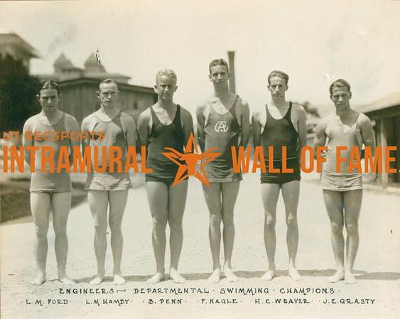 SWIMMING Departmental Champions  Engineers  L. M. Ford, L. M. Hamby, B. Penn, F. Nagle, H. C. W. Baver, J. E. Grasty