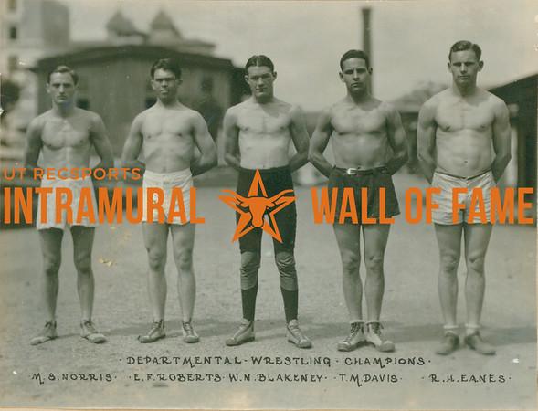 WRESTLING Departmental Champions  M. S. Norris, E. F. Roberts, W. N. Blakeney, T. M. Davis, R. H. Eanes