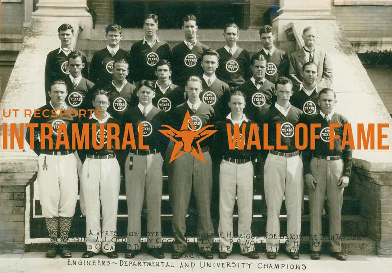 TRACK Departmental & University Champions  Engineers  R1:  ----, A. Ayres, Joe Royer, ---, R. H. Briggs, Joe Benowitz, Dean Taylor R2: T. W. Massie, A. J. Old, Guy Cook, H. L. Land, R. C. Wolf, J. C. Herrera R3: ----