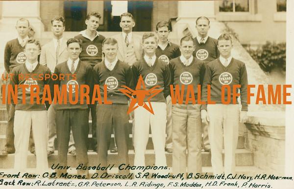 BASEBALL University Champions  Engineers  R1: R. Latrentz, G. R. Peterson, L. R. Riding, F. S. Maddox, H. D. Frenk, P. Harris R2: O. B. Manes, D. Driscoll, S. R. Woodruff, B. Schmidt, C. J. Nory, H. R. Moormen