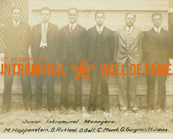 JUNIOR INTRAMURAL MANAGERS  M. Hoppenstein, B. Rutland, D. Bell, C. Mount, G. Surginer, H. Jones