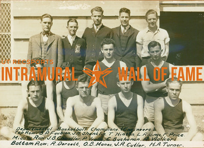 BASKETBALL Departmental Champions  Engineers  R1: B. P. Faubion, J. H. Shanklin, T. Hinton, L. Ridings, F. Price R2: J. N. chandler, P. Vratis, C. Buchanan, R. Walker R3: R. Dorsett, O. B. Manes, J. R. Cutler, H. A. Turner
