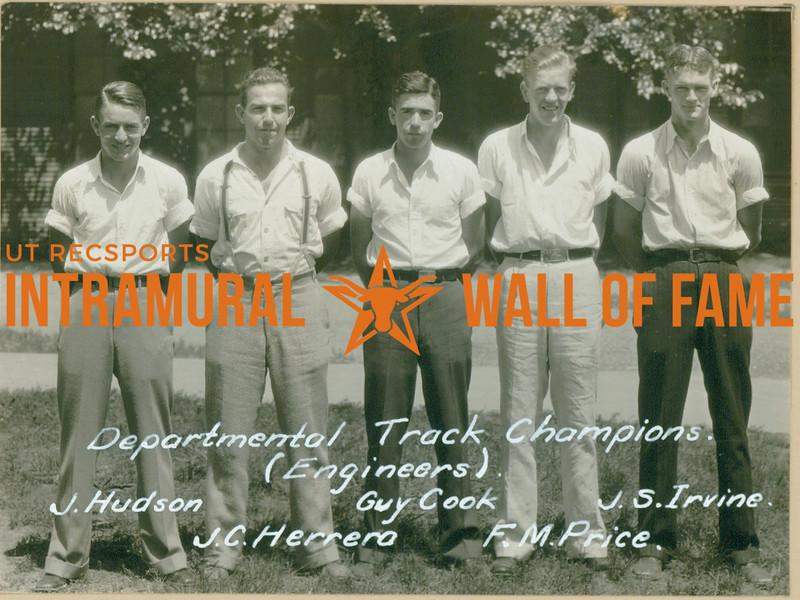 TRACK Departmental Champions  Engineers  J. Hudson, J. C. Herrera, Guy Cook, F. M. Price, J. S. Irvine