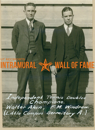 """TENNIS Independent Doubles Champions  Little Campus Dormitory """"A""""  Walter Akin & F. M. Windrow"""