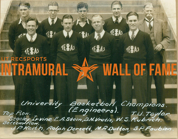 BASKETBALL University Champions  Engineers  R1: Stanley Irvine, E. A. Stein, D. N. Vratis, W. S. Kubrich, T. U. Taylor R2: J. P. Keith, Ralph Dorsett, M. R. Dutton, B. P. Fowbion