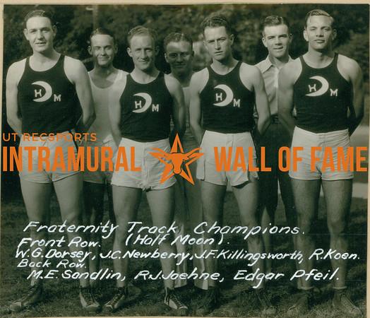 TRACK Fraternity Champions  Half Moon  Front: W. G. Dorsey, J. C. Newberry, J. F. Killingsworth, R. Koen Back: M. E. Sandlin, R. J. Joehne, Edgar Pfeil