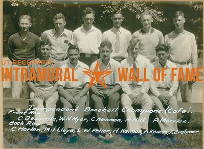 BASEBALL Independent Champions  Cafeteria  R1: C. Deuschle, W. N. Myer, C. Heinman, R. Hill, P. Mendez R2: C. Harlen, M. J. Lloyd, L. W. Feller, H. Heiman, A. Kowert, F. Brehmer