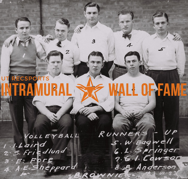 Volleyball Runners-Up Back Row (L to R): I. Laird, S. Friedlund, E. Fore, A.E. Sheppard, W. Bagwell. Front Row (L to R): L. Springer, G.I. Cowsar, B. Anderson. Brownies