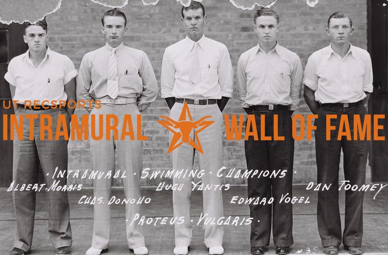Intramural Swimming Champions Proteus Vulgaris (L. to R): Albert Morris, C. Donoho; Hugh Yantis; Edward Vogel; Dan Toomey
