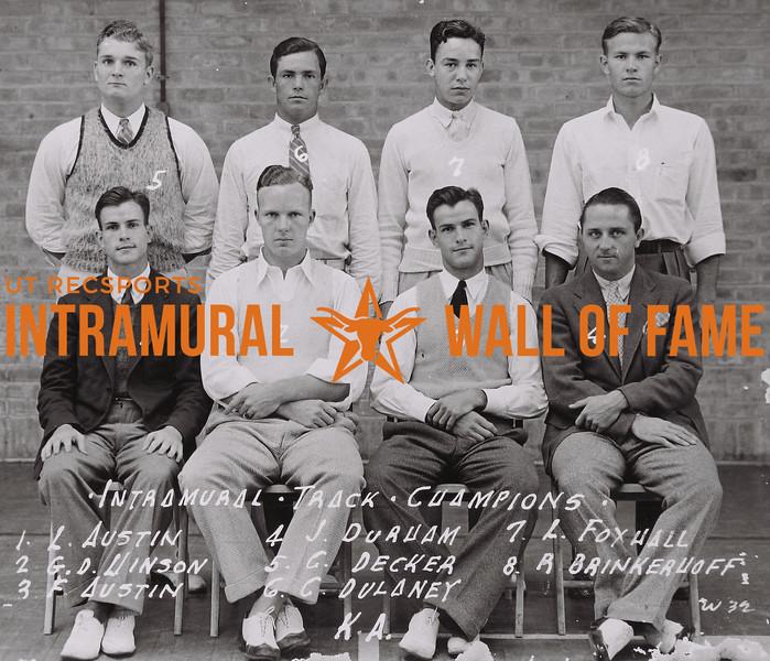 Intramural Track Champions Front Row (L to R): L. Austin, G.D. Hinson, F. Austin, J. Durham. Back Row (L to R): C. Decker, C. Delaney, L. Foxhall, R. Brinkerhoff. KA