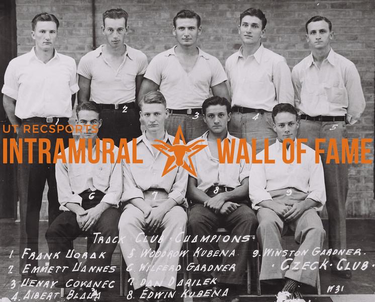 Track Club Champions Back Row (L to R): Frank Horak, Emmett Hannes, Henry Covanec, Albert Blaha, Woodrow Kubena. Front Row (L to R): Wilfred Gardner, Dan Darilek, Edwin Kubena, Winston Gardner. Czeck Club