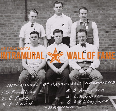 """Intramural """"B"""" Basketball Champions 1. S. Friedlund  2. E. Fore  3. I. Laird  4. B. Anderson  5. L. Springer 6. A.E. Sheppard Brownies"""