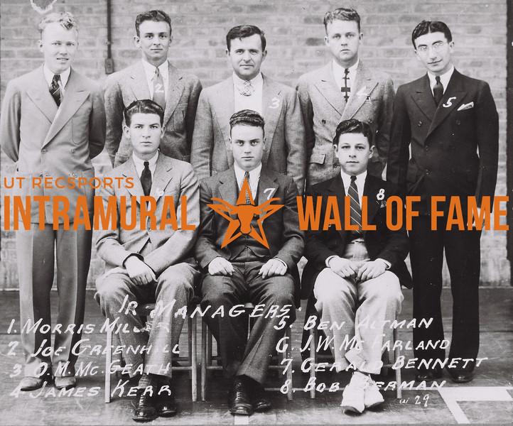 Jr Managers Back Row (L to R): Morris Miller, Joe Greenhill, O.M. McGeath, James Kerr, Ben Altman. Front Row (L to R): J.W. Mc Farland, Gerald Bennett, Bob Berman.