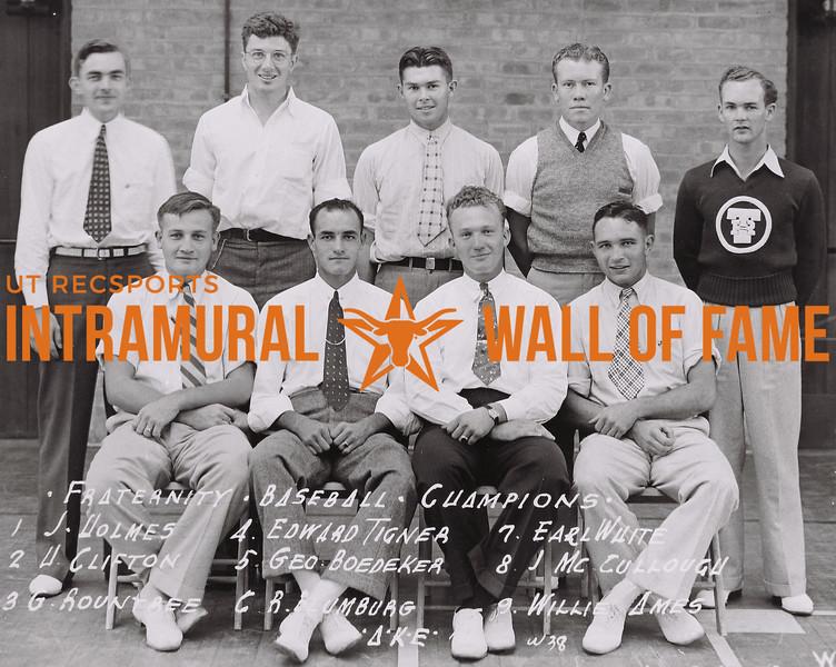 Fraternity Baseball Champions Front Row (L to R): J. Holmes, H. Clifton, G. Rountree, Edward Tigner. Back Row (L to R): Geo Boedecker, R. Blumberg, Earl White, J. McCullogh, Willie Ames. Delta Kappa Epsilon