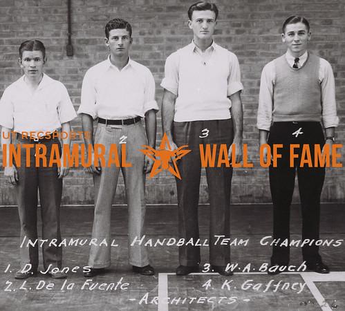 Intramural Handball Team Champions (L to R): D. Jones, L. De La Fuente, W.A. Bauch, K. Gaffney Architects