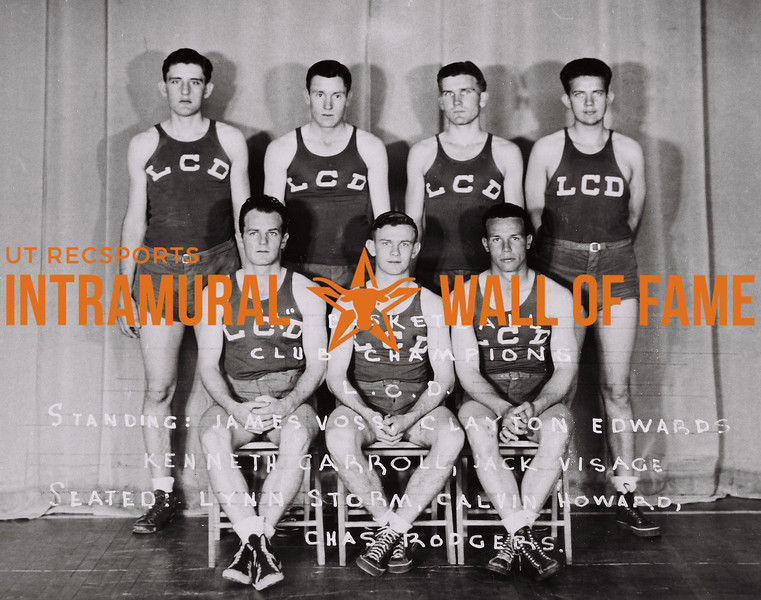 """A"" Basketball Club Champions L.C.D. Standing (L to R): James Voss, Clayton Edwards, Kenneth Carroll, Jack Visage. Sitting (L to R): Lynn Storm, Calvin Howard, Chas Rodgers."