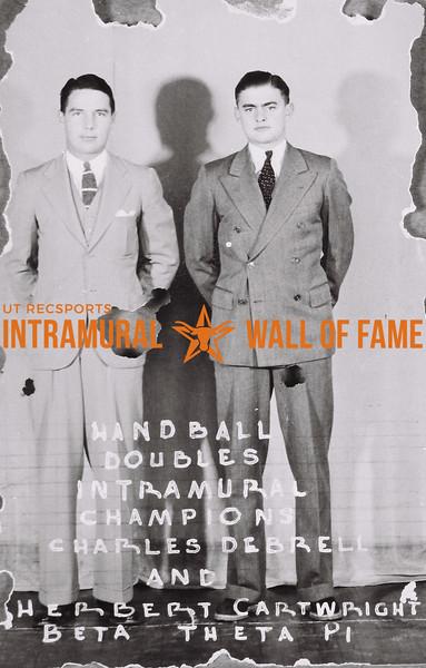 Handball Doubles Intramural Champions Charles Debrell (L), Herbert Cartwright (R) Beta Theta Pi