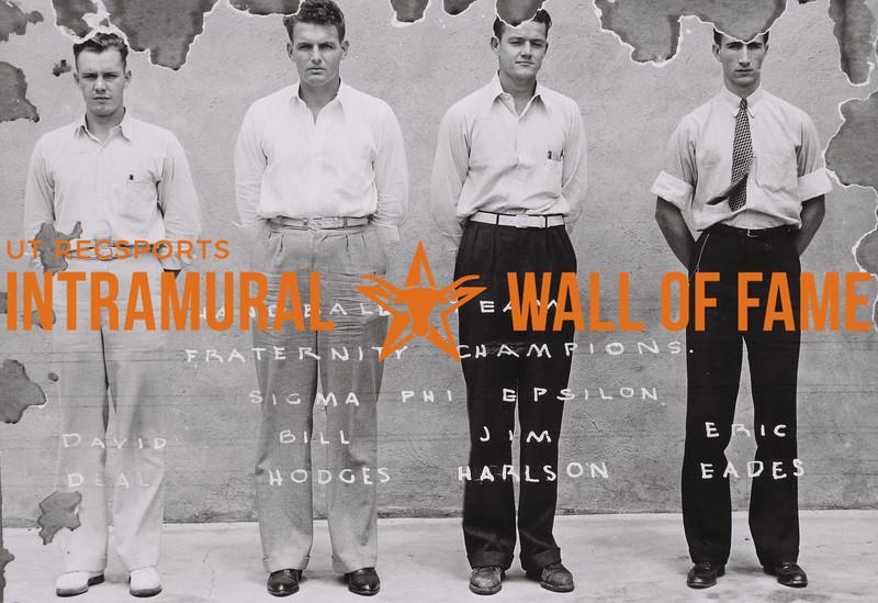 Handball Team Fraternity Champions Sigma Phi Epsilon (L to R): David Deal, Bill Hodges; Jim Harlson, Eric Eades