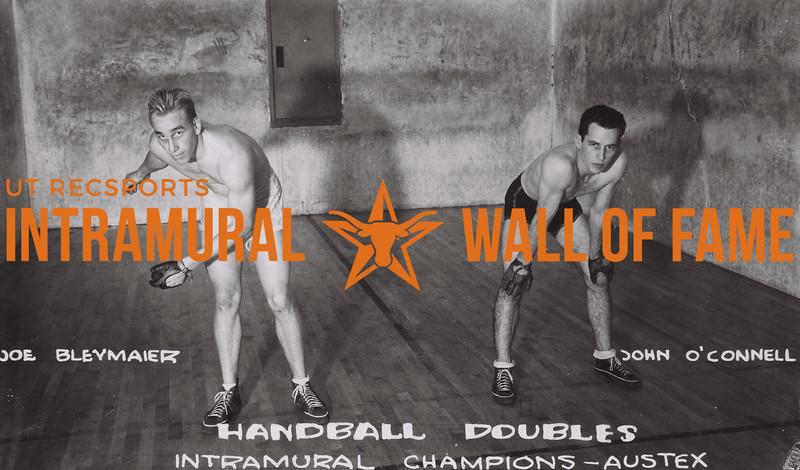 Handball Doubles Intramural Champions Austex Joe Bleymaier (L), John O'Connel (R)