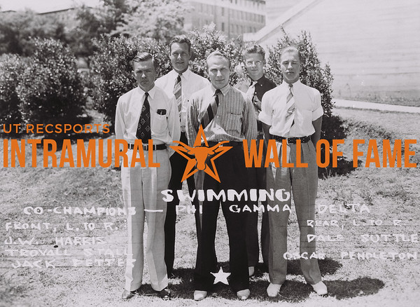 Swimming Co-Champions Phi Gamma Delta Front (L to R): J.W. Harris, Trovall Stall, Jack Petter Rear (L to R): Dale Suttle, Oscar Pendleton