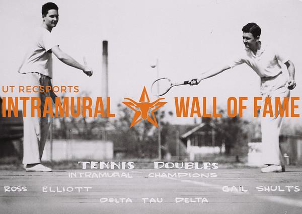 Tennis Doubles Intramural Champions Ross Elliot (L), Gail Shults (R) Delta Tau Delta