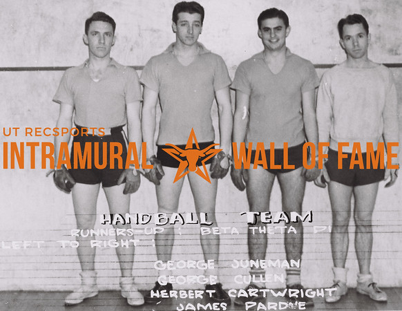 Handball Team Runners-Up Beta Theta Pi (L to R): George Juneman, George Cullen, Herbert Cartwright, James Pardue.