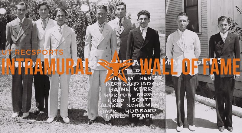 Junior Intramural Managers (L to R): William Henger, Bertrand Adoue, Baine Kerr, Burton Grossman, Fred Scott, Alfred Schulman, Jack Hubbard, Earl Prade.