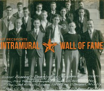 INDOOR BASEBALL Departmental Champions  Engineers  R1: Frank Tolbert, H. A. Davenport, F. B. Becker, J. S. Irvine, C. J. Navy R2: Jack Ririe, J. H. Dunaway, I. W. McElroy, D. Driscoll, M. Jolly R3: C. C. Bengston, H. J. Kettler, D. N. Vratis, H. B. Bayer, E. W. Johnson