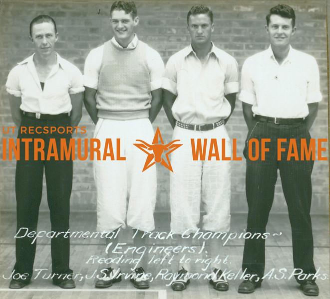 TRACK Departmental Champions  Engineers  Joe Turner, J. S. Irvine, Raymond Keller, A. S. Parks