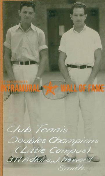 TENNIS Club & Doubles Champions  Little Campus  J. N. Adkins & J. Howard Smith