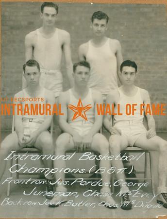BASKETBALL Intramural Champions  Beta Theta Pi  FRONT: Jasper Pardue, George Juneman, Chase McEvoy BACK: Joe K. Butler, Charles McDugald