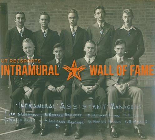 INTRAMURAL ASSISTANT MANAGERS    FRONT: Morris Miller, E. Rubin, B. Miller, ---- BACK: Joe Greenhill, Willie Ames, Gerald Bennett, Leonard Daiches, Garland Brown