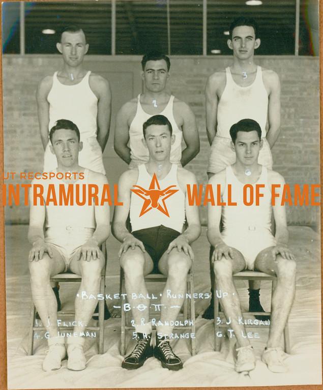 BASEKTBALL Runners-Up  Beta Theta Pi  FRONT: G, Juneman, H. Strange, T. Lee BACK: J. Flick, R. Randolph, J. Kirgan