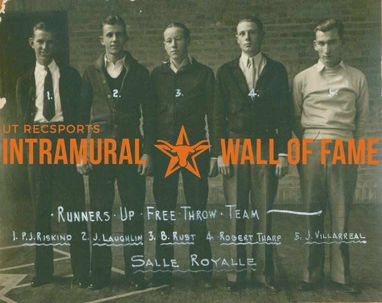 FREE THROW Team Runners Up  Salle Royalle  P. J. Riskind, J. Laughlin, B. Rust, Robert Tharp, J. Villarreal