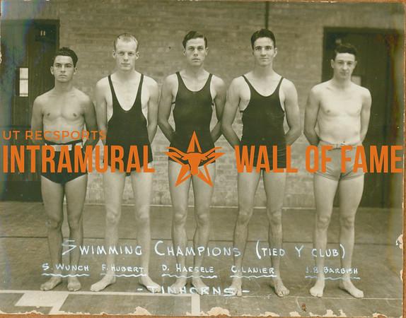 SWIMMING Champions (Tied with Y Club)  Tinhorns  S. Wunch, F. Hubert, D. Haedele, C. Lanier & J. B. Barbish