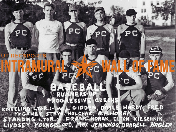 Baseball Runner Up Progressive Czechs Kneeling (L-R): W.L. Gidden, Doyle Hardy, Fred McGahey, Steve Holchak, A.A. Horak, A.R. Horak Standing (L-R): Frank Horak, Elton Kieschnik, LindseyYoungblood, Max Jennings, Darrell Hagler