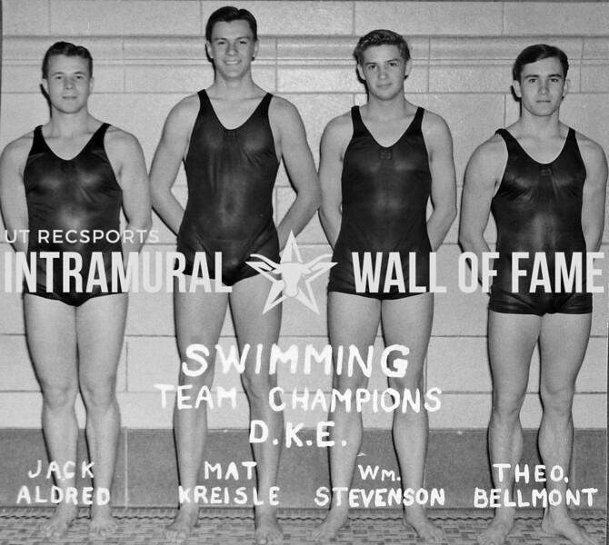 Swimming Champions Delta Kappa Epsilon Jack Aldred, Mat Kreisle, William Stevenson, Theo. Bellmont, Theodore
