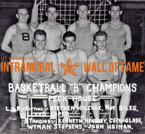 Basketball, Class B Champions Peck House Sitting (L-R): Stephen Holchak, Roy Biles, Lloyd Loper,  Standing (L-R): Kenneth Hensley, Cecil Glass, Wyman Stephens, John Heiman