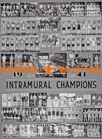 Picture of the 1940 - 1941Intramural Champions on the Wall of Fame inside Gregory Gym