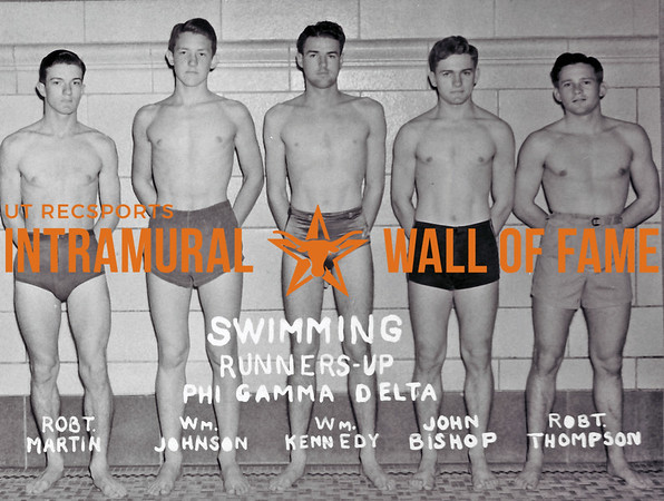 Swimming Runner Up Phi Gamma Delta Robert Martin, William Johnson, William Kennedy, John Bishop, Robert Thompson