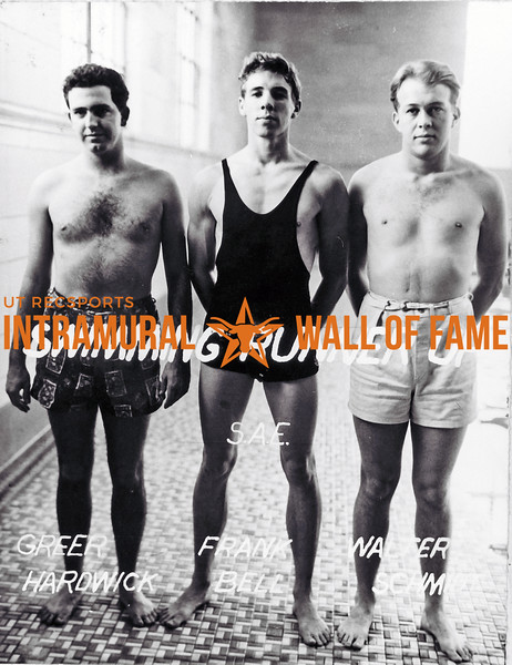 Swimming Runner Up Sigma Alpha Epsilon Greer Hardwick, Frank Bell, Walter Schmidt.