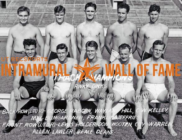 Track Champion Rinky Dinks Back Row (L-R): George Raborn, Waylan Hill, C.W. Kelley, Max Bumgardner, Franklin Jeffries Front Row (L-R): Lewis Holder, Don Wooten, Coy Warren, Allen Lawler, Beale Deane
