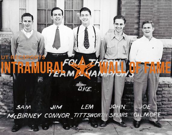 Foul Throw, Team Champion Delta Kappa Epsilon Sam McBirney, Jim Connor, Lem Tittsworth, John Spears, Joe Gilmore