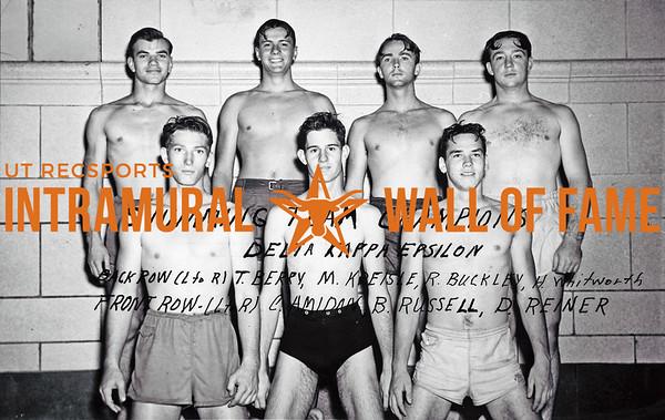 Swimming, Team Champion Delta Kappa Epsilon Back Row:  LR, T. Berry, M. Kreisle, R. Buckley, H. Whitworth Front Row: LR, C. Amidan, B. Russell, D. Reiner