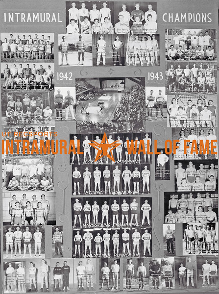 Picture of the 1942 - 1943 Intramural Champions on the Wall of Fame inside Gregory Gym