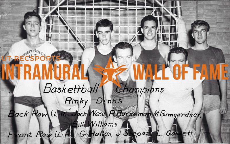 Basketball, Champion Rinky Dinks Back Row (L-R): Jack West, R. Borneman, M. Bumgardner, Bill Williams Front Row (L-R): G. Hatton, J. Stepan, L. Gossett