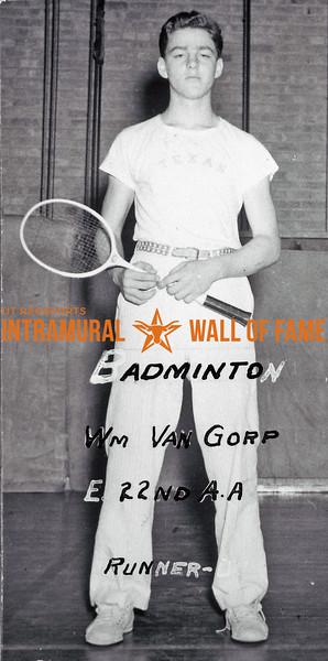 Badminton, Singles Runner Up E. 22nd A.A William Van Gorp