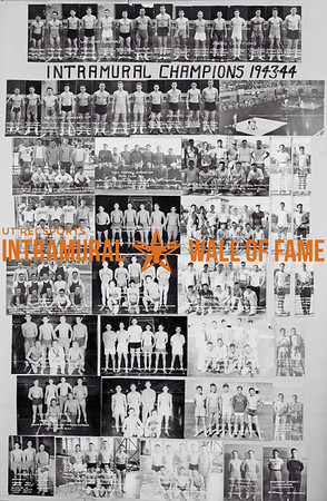 Picture of the 1943 - 1944 Intramural Champions on the Wall of Fame inside Gregory Gym