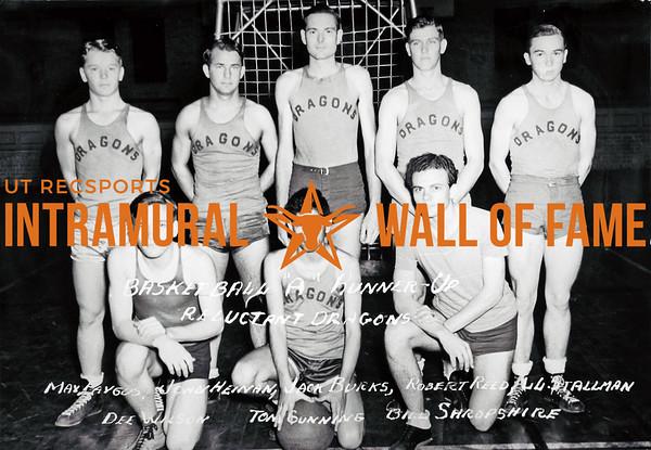 Basketball, Class A Runner Up Reluctant Dragons Max Paygus, Faygus, John Heinan, Jack Burks, Robert Reed, L.L. Stallman, Dee Wilson, Tom Gunning, Bill Shropshire